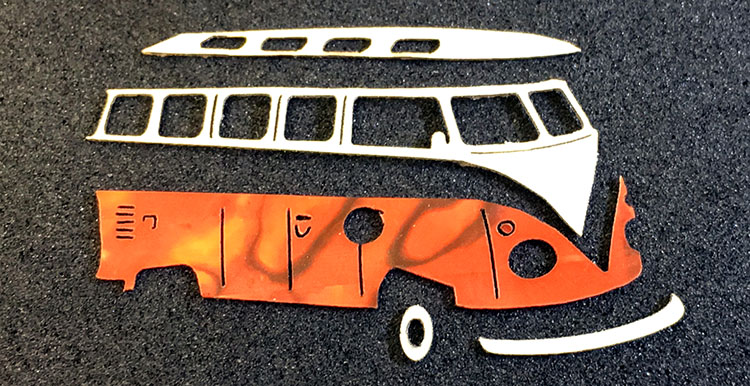 Laser Cut Bus Pieces by Celeste Watch Company