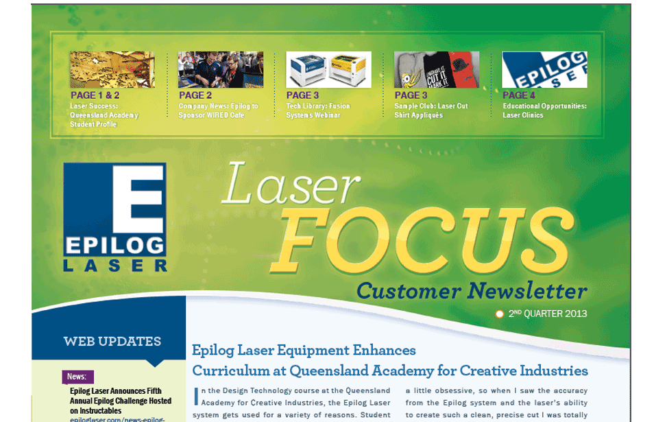 2nd quarter 2013 epilog laser newsletter