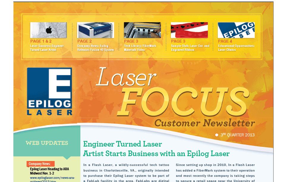 Third Quarter 2013 Newsletter from Epilog Laser