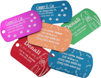 Pet tags laser engraved.