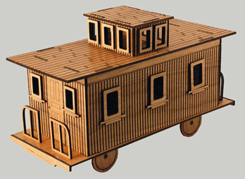 Laser cut and engraved train caboose.